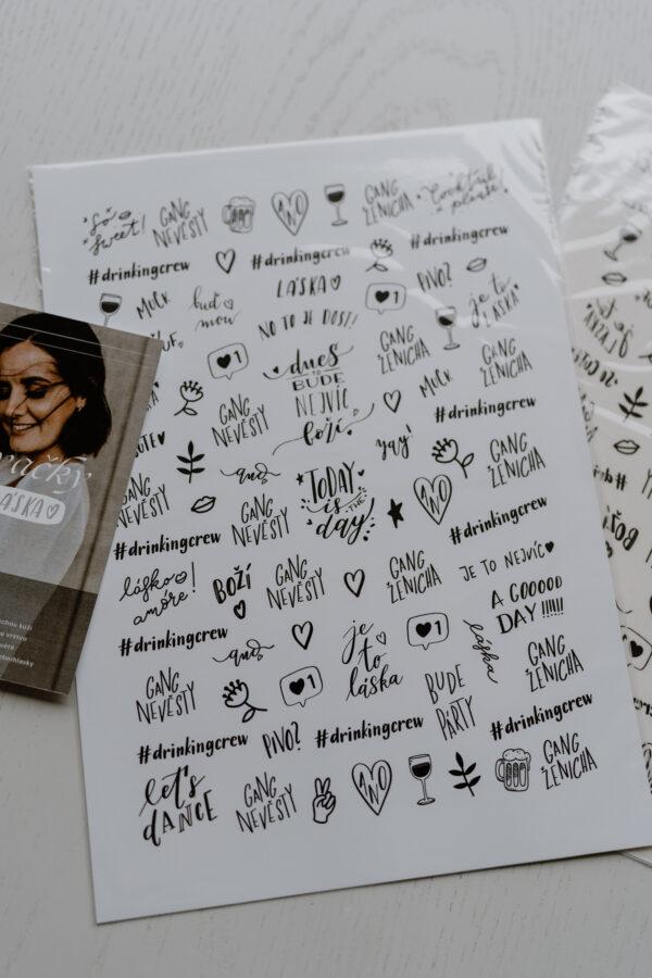 Velký set 60 ks svatební tetování